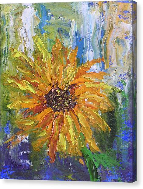 Sunflower Abstract Canvas Print by Barbara Harper