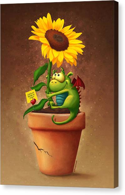 Notes Canvas Print - Sunflower And Dragon by Tooshtoosh