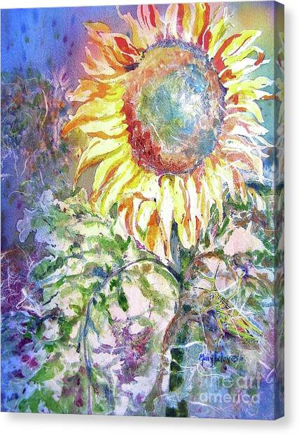 Sunflower And Grasshopper Canvas Print