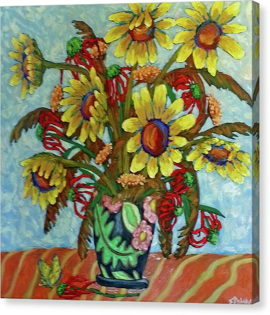 Sunflower Bouquet With Butterfly Canvas Print