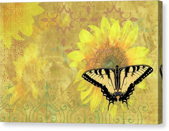 Songbirds Canvas Print - Sunflower Butterfly Yellow Gold by JQ Licensing