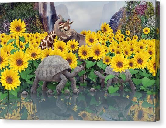 Happy Elephant Canvas Print - Sunflower Daydream  by Betsy Knapp