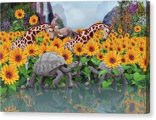Happy Elephant Canvas Print - Sunflower Daydream II by Betsy Knapp