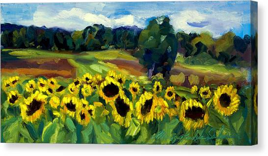 Inspired By Van Gogh Canvas Print - Sunflower Field by Monique Sarkessian