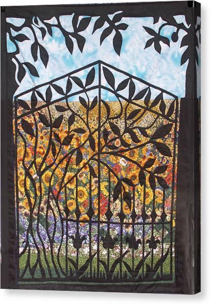 Sunflower Garden Gate Canvas Print