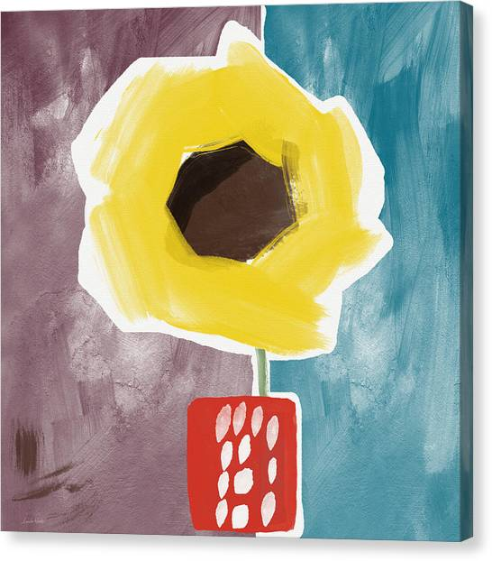 Pretty Flowers Canvas Print - Sunflower In A Small Vase- Art By Linda Woods by Linda Woods