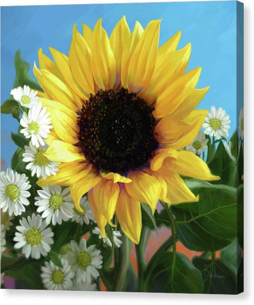 Daisy Canvas Print - Sunflower by Lucie Bilodeau