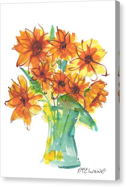 Sunflower Medley II Watercolor Painting By Kmcelwaine Canvas Print