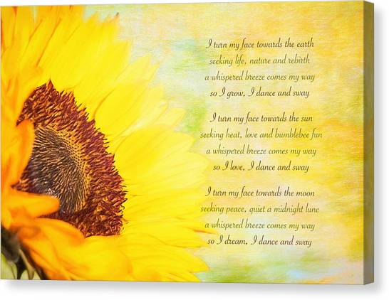Canvas Print - Sunflower Poetry by Amanda Lakey
