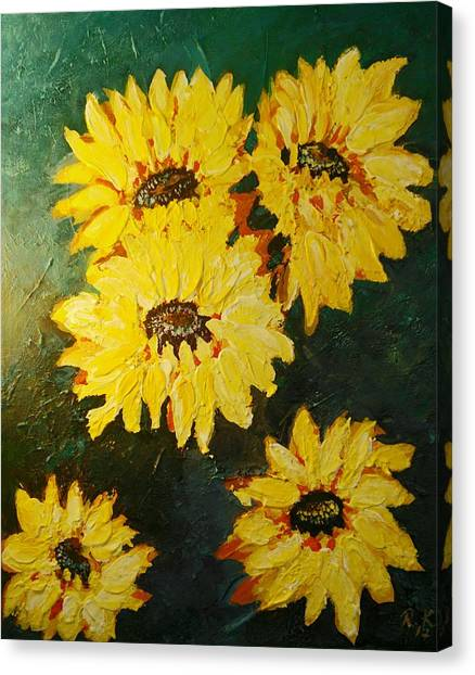 Canvas Print featuring the painting Sunflower by Ray Khalife