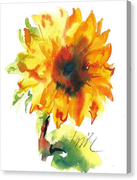 Sunflower With Blues Canvas Print