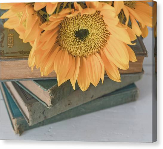 Canvas Print featuring the photograph Sunflowers And Books by Kim Hojnacki