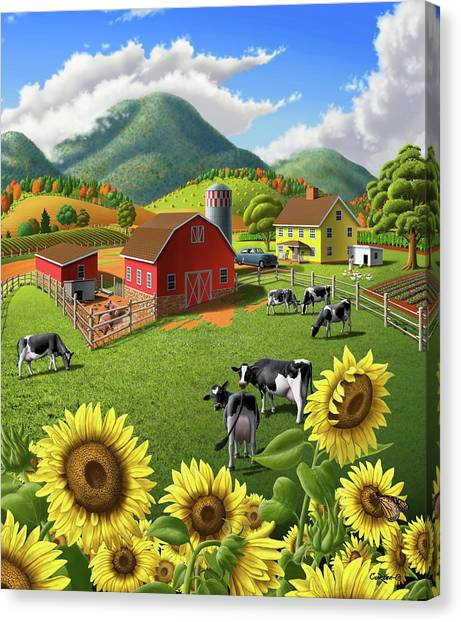 Rolling Hills Canvas Print - Sunflowers And Cows Farm Landscape Painting - 1950s Appalachian Painting - Rural Americana Folk Art by Walt Curlee
