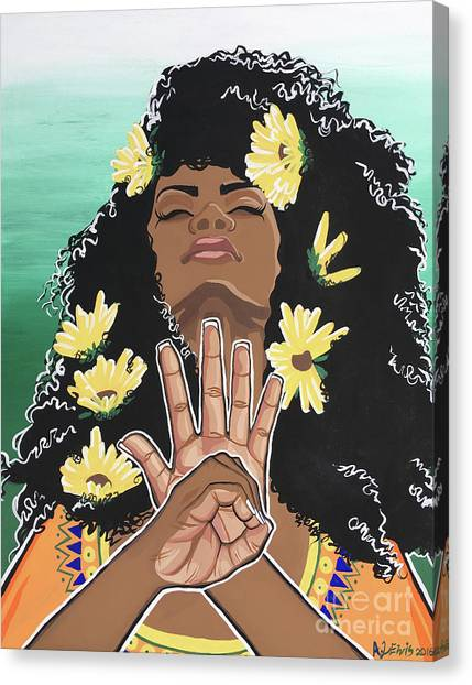 African Americans Canvas Print - Sunflowers And Dashiki by Alisha Lewis