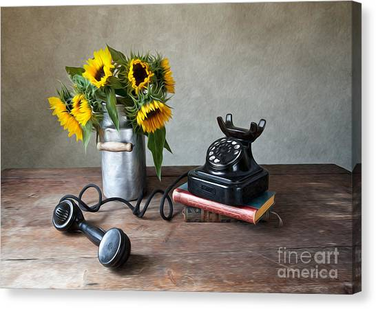 Old Fashioned Canvas Print - Sunflowers And Phone by Nailia Schwarz