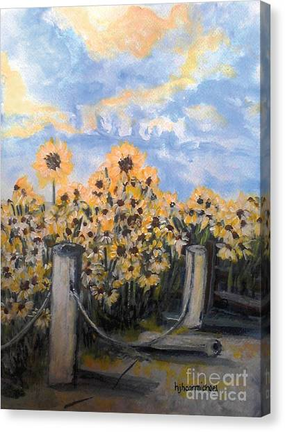 Sunflowers At Rest Stop Near Great Sand Dunes Canvas Print