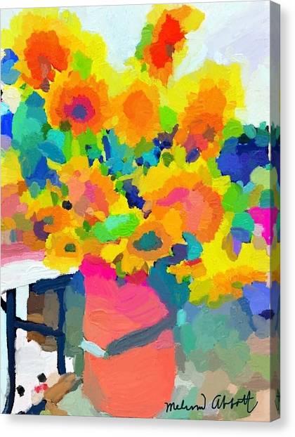 Sunflowers At Rockport Farmer's Market Canvas Print