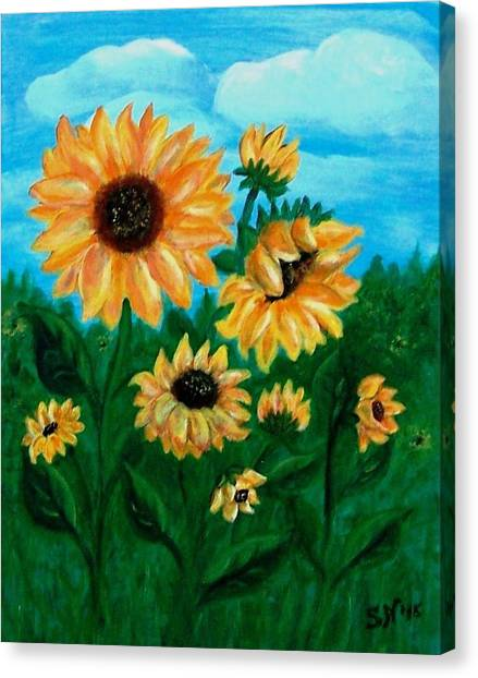 Canvas Print featuring the painting Sunflowers For Mom by Sonya Nancy Capling-Bacle