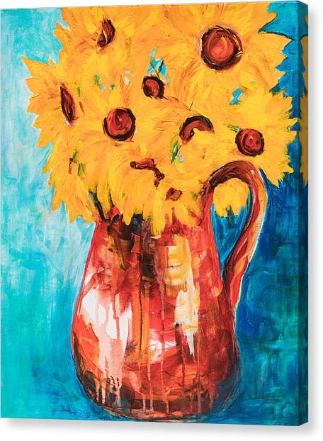 Sunflowers In A Pitcher Canvas Print