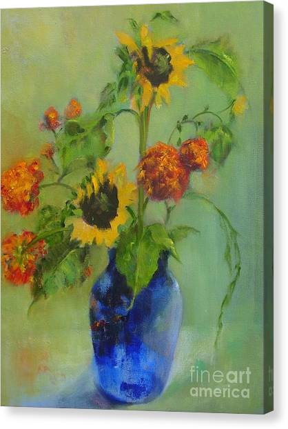 Sunflowers In Blue          Copyrighted Canvas Print by Kathleen Hoekstra