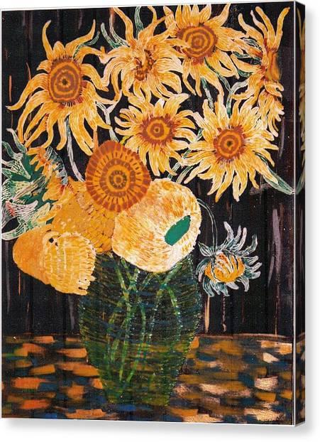 Sunflowers In Clear Vase Canvas Print by Brenda Adams