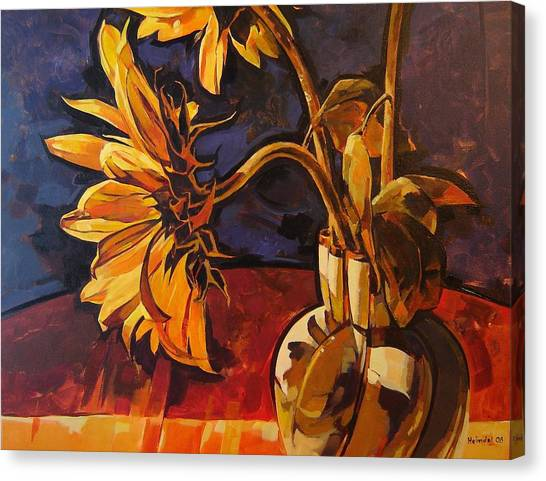 Sunflowers In Italian Vase Take Two Canvas Print