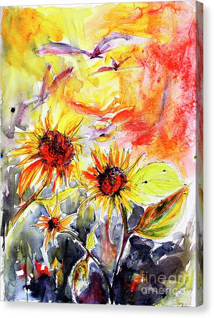 Sunflowers In Summer Garden Modern Watercolor And Ink Canvas Print