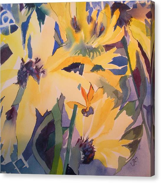 Canvas Print - Sunflowers In The Blue Room by Jane Ferguson