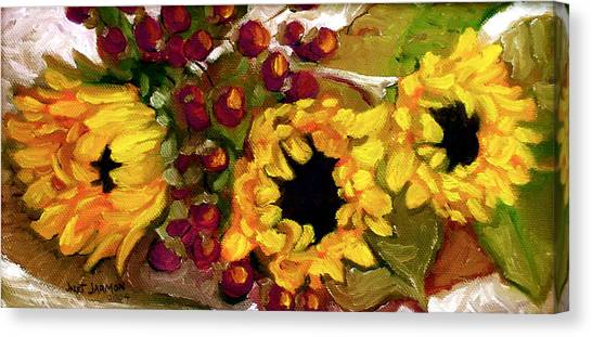 Canvas Print featuring the painting Sunflowers by Jeanette Jarmon