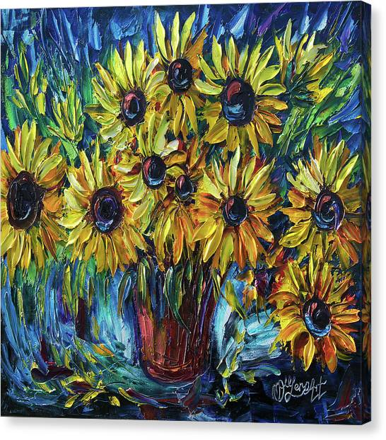 Sunflowers In A Vase Palette Knife Painting Canvas Print
