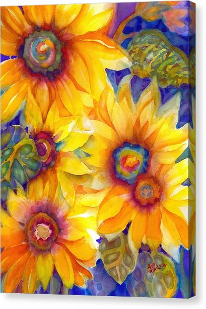 Sunflowers On Blue II Canvas Print