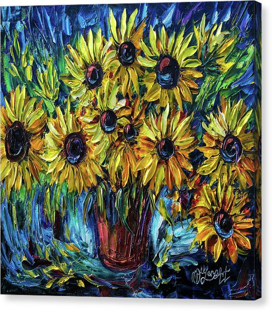 Sunflowers  Palette Knife Canvas Print