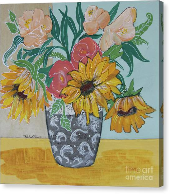 Canvas Print featuring the painting Sunflowers Three by Robin Maria Pedrero