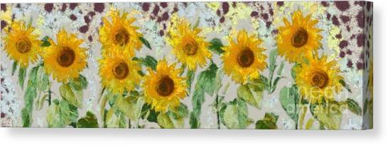 Summer Canvas Print - Sunflowers Wide by Edward Fielding