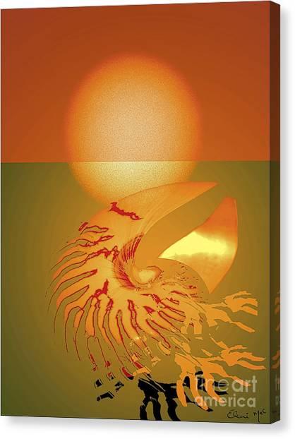 Canvas Print featuring the digital art Sungazing by Eleni Mac Synodinos