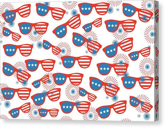 Patriotic Canvas Print - Sunglass Sparklers Celebration  by Chastity Hoff