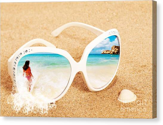 Bikini Canvas Print - Sunglasses In The Sand by Amanda Elwell