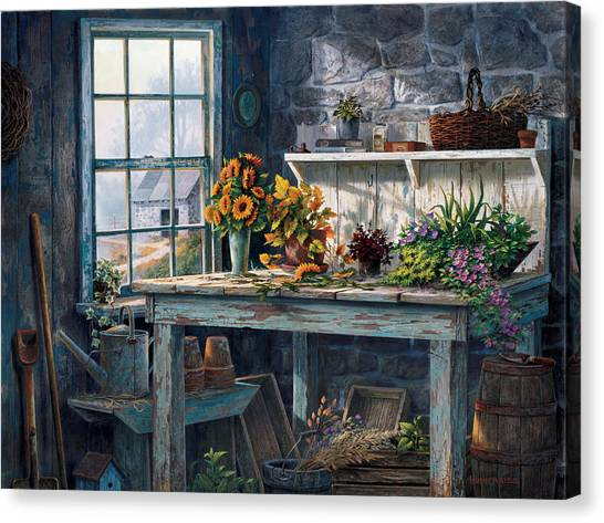 Benches Canvas Print - Sunlight Suite by Michael Humphries