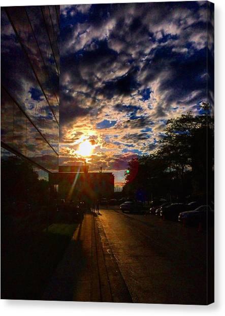 Sunset Horizon Canvas Print - Sunlit Cloud Reflection by Nick Heap