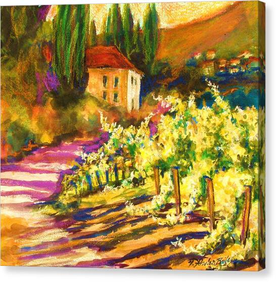 Sunlit Grapevines  Sold Canvas Print by Therese Fowler-Bailey