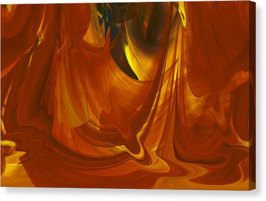 Canvas Print featuring the digital art Sunlit Red Cavern Abstract by rd Erickson
