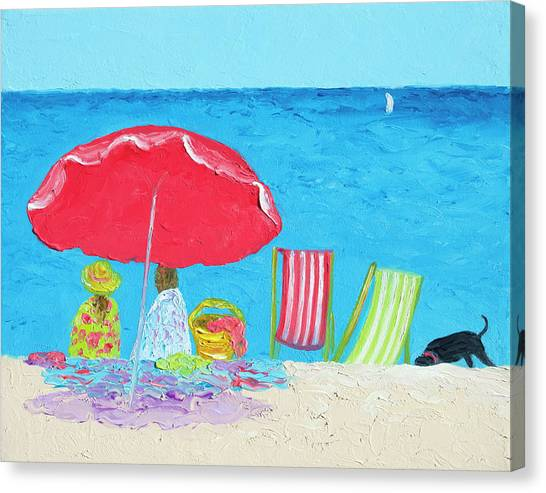 Coastal Art Canvas Print - Sunny Afternoon At The Beach by Jan Matson