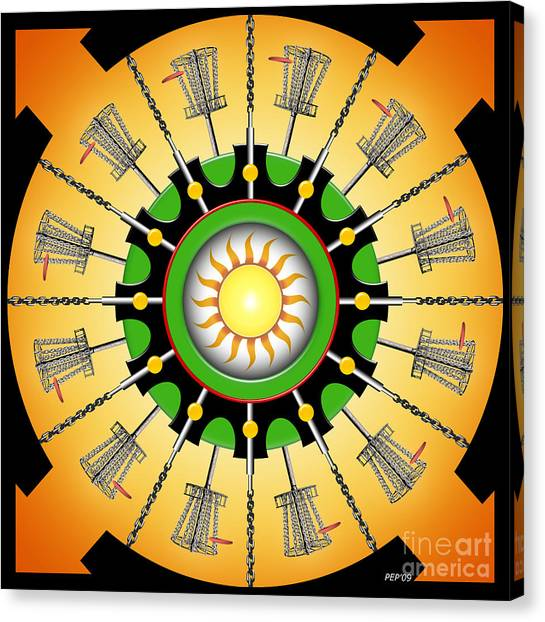Disc Golf Canvas Print - Sunny Baskets by Phil Perkins