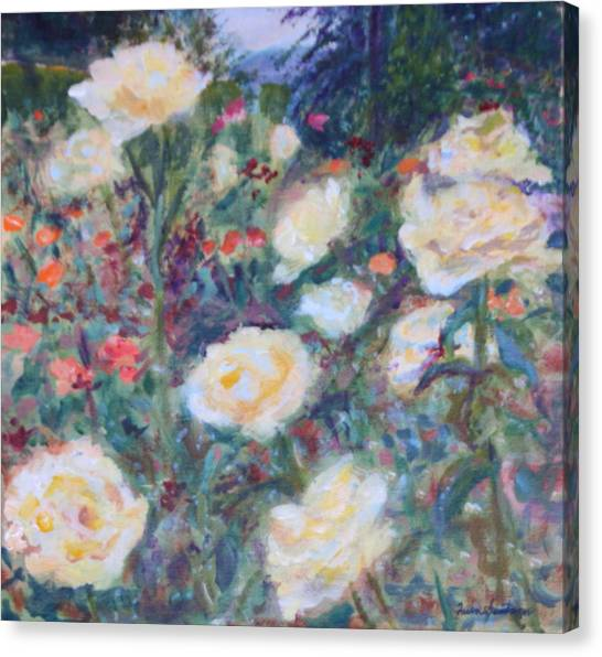 Sunny Day At The Rose Garden Canvas Print
