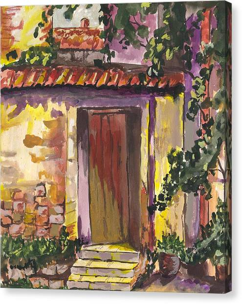Canvas Print featuring the digital art Sunny Doorway by Darren Cannell
