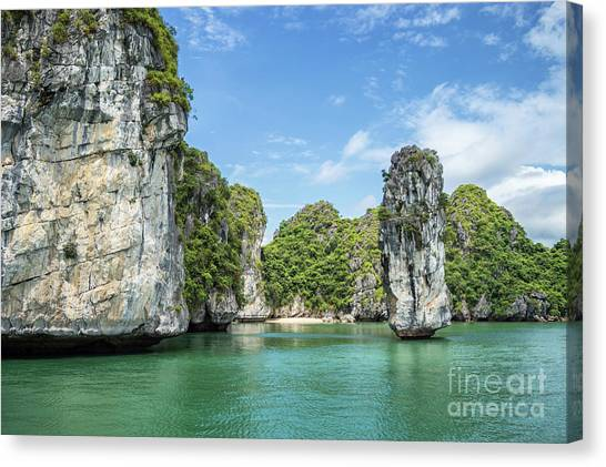 Vietnamese Canvas Print - Sunny Halong Bay by Delphimages Photo Creations