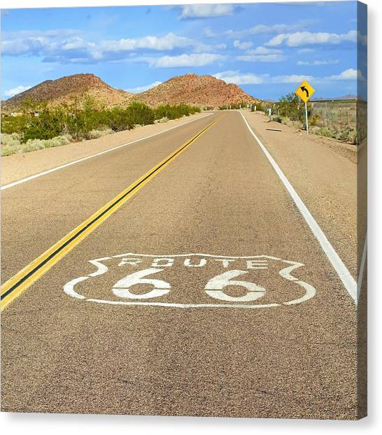 Historic Route 66 Canvas Print - Sunny Route 66 by Lutz Baar