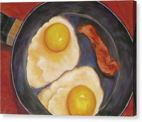 Eggs And Bacon Canvas Print - Sunny Side Up by Lois Davis