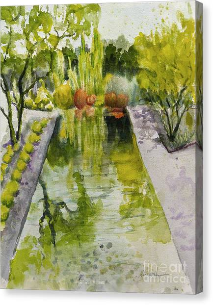 Verde Canvas Print - Infinity Pool In The Gardens At Annenburg Estate by Maria Hunt