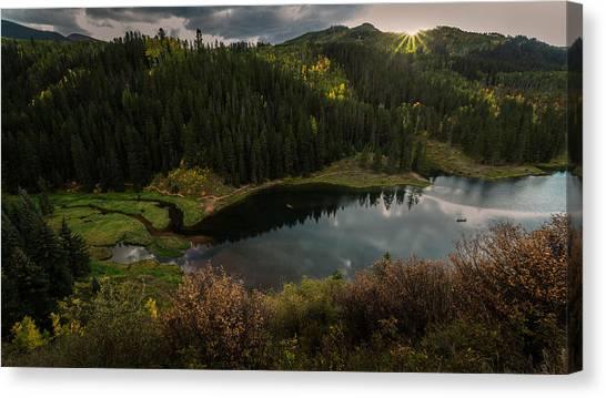 Sunrays Over The Lake Canvas Print